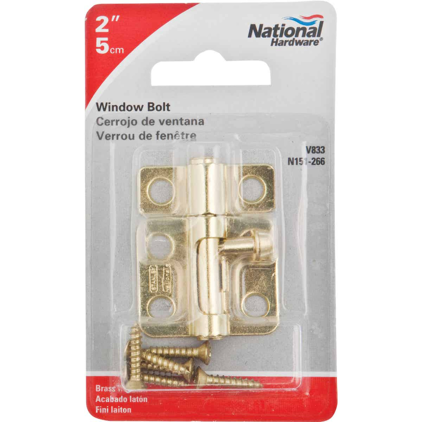 National 2 In. Satin Brass Cellar Window Barrel Bolt Image 2