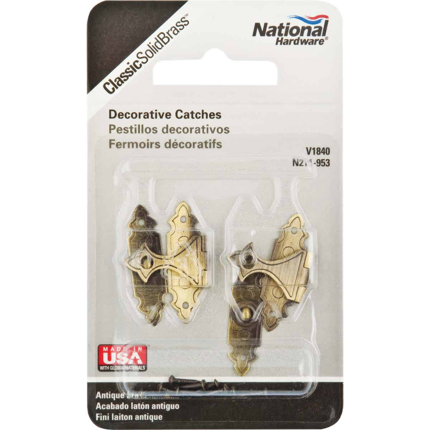 National Catalog V1840 Antique Brass Decorative Catch (2-Count) Image 2