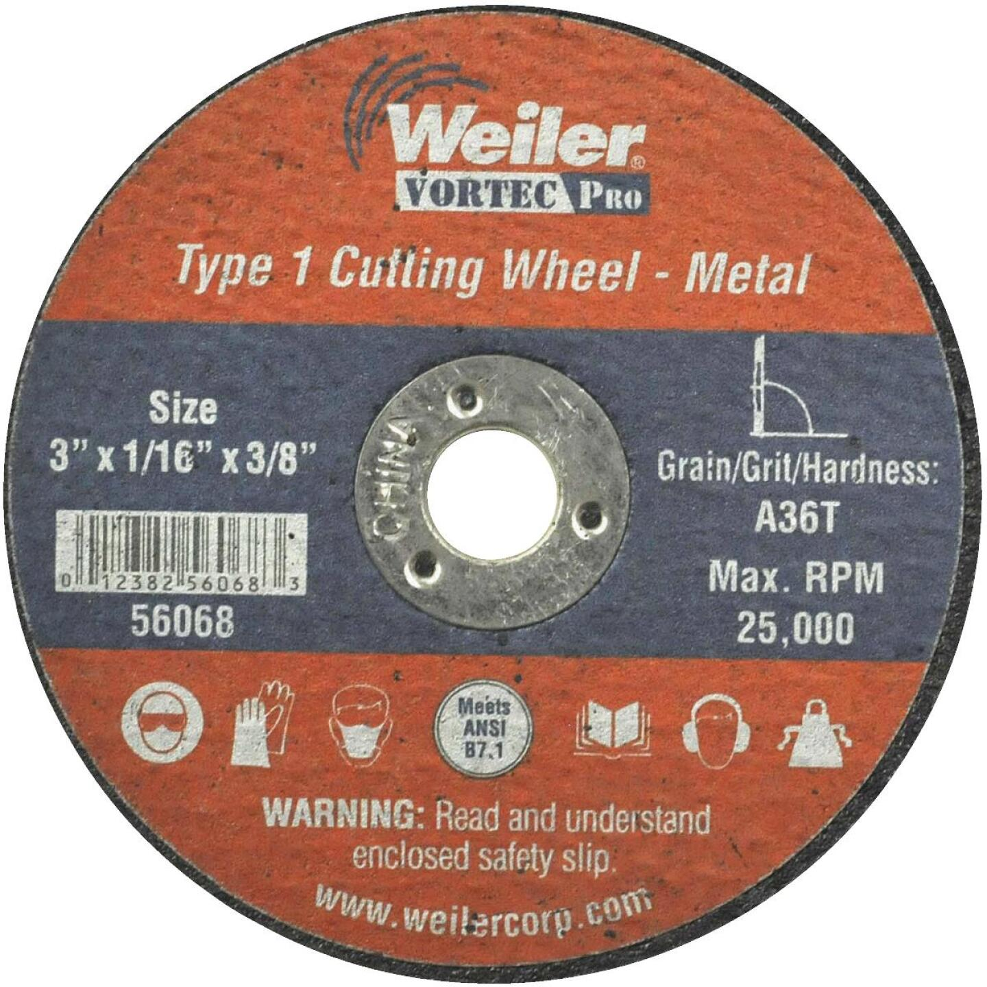 Weiler Vortec 3 In. Type 1 Cut-Off Wheel Image 1