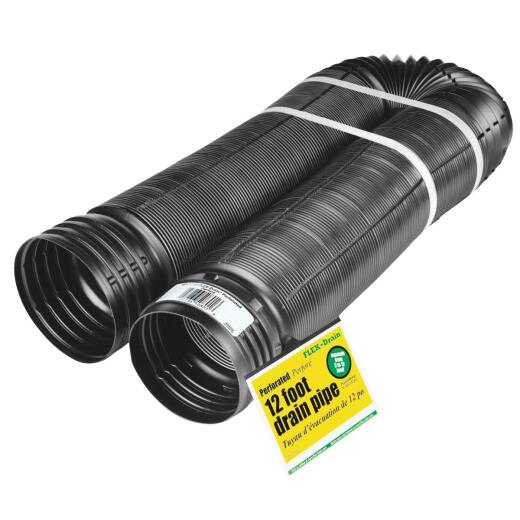 Amerimax 4 In. X 12 Ft. FLEX-Drain Expandable Perforated Drainage Pipe