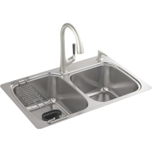 Kohler All-in-One Double Bowl 33 In. x 22 In. x 9 In. Deep Stainless Steel Kitchen Sink Kit, Top/Under Mount