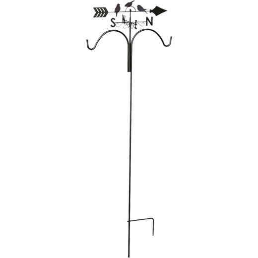 Panacea 78 In. Brown Steel Perching Birds Weathervane Double Shepherd Hook