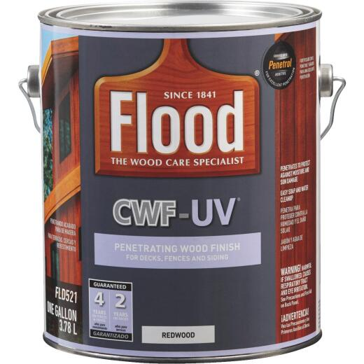 Flood CWF-UV Oil-Modified Fence Deck and Siding Wood Finish, Redwood, 1 Gal.